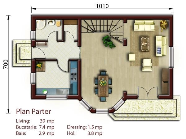 Aston casa p m proiecte case vile for Proiect casa 2 camere living baie si bucatarie