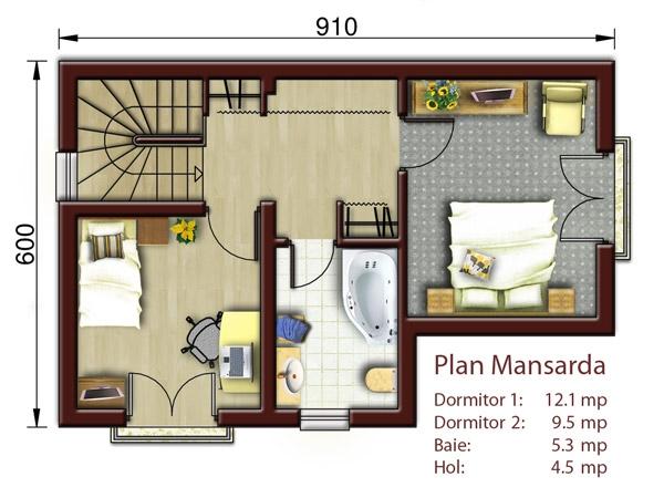Casa Eliza Cu Mansarda Proiecte Case Vile