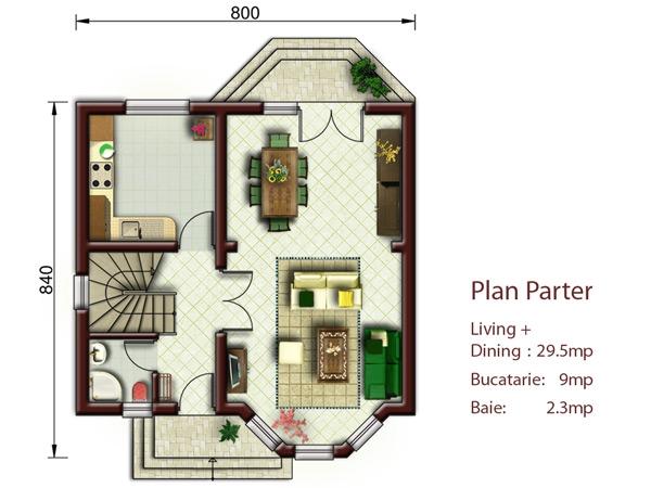 Vila essen proiecte case vile for Proiect casa 2 camere living baie si bucatarie