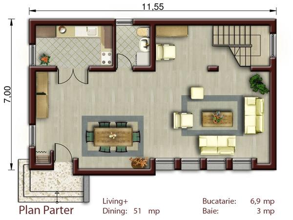 Casa brasil p m proiecte case vile for Proiect casa 100 mp fara etaj