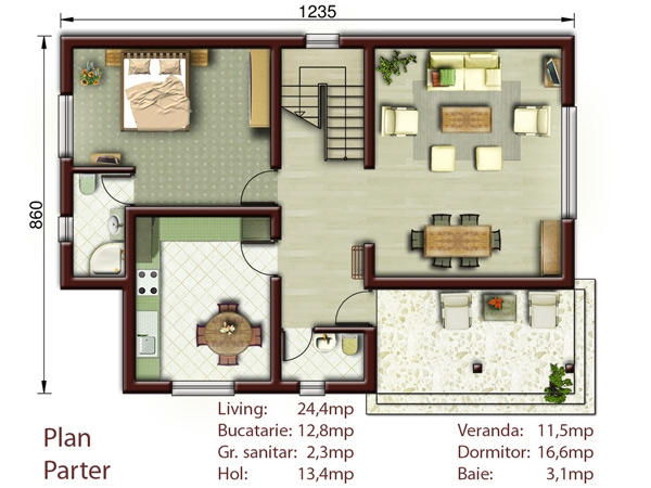 Casa campina p m proiecte case vile for Planuri de case