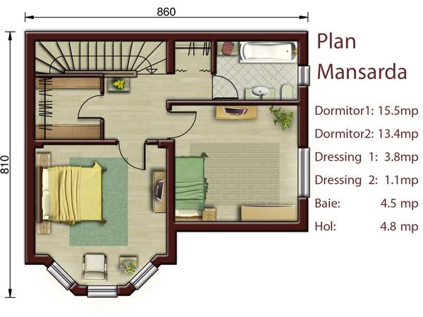 Casa poiana proiecte case vile - Small attic house plans ...